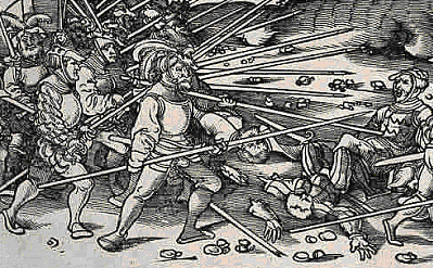 Hans Burgkmair early 16th century.  This woodcut shows pikemen wearing mail mantles and half Harnisch