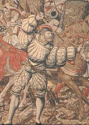 1527, a tapestry of the battle of Pavia that shows a Landsknecht with an iron skull cap under his hat.